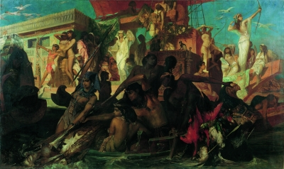 Makart, Hans (Salzburg, 1840 – Vienna, 1884) The Nile Hunt of Cleopatra, 1876 oil on canvas, 275 × 456 cm, signed bottom right: Hans Makart, inv. no.: 5837 Belvedere, Vienna Photograph: © Belvedere, Vienna